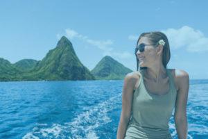 Beautiful woman on boat